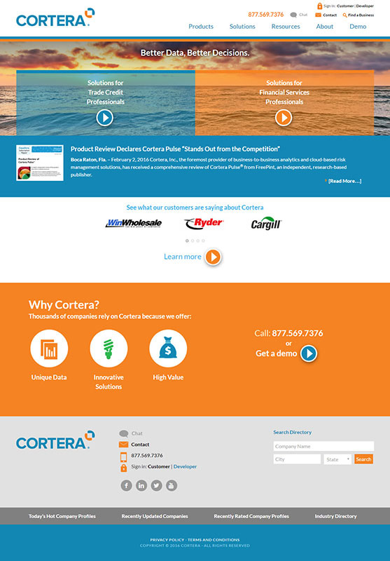 Cortera Website - new design by BDS